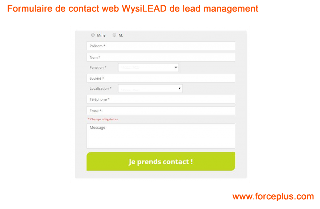 Formulaire de contact web WysiLEAD de lead management